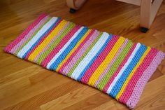 Stripey Spring Rug pattern by Elizabeth Pardue Ravelry: Stripey Spring Rug patt. Stripey Spring Rug pattern by Elizabeth Pardue Ravelry: Stripey Spring Rug patt… Stripey Spring Stitch Crochet, Knit Or Crochet, Crochet Stitches, Crochet Rugs, Slip Stitch, Free Crochet, Crochet Flower, Crochet Home, Crochet Crafts