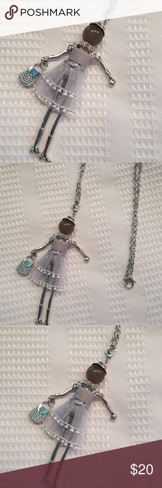 JUST IN️Grey & Silver Fancy Woman Charm Necklace So cute and unique! Silver plated, 28in long chain. Charm can also unclip. Lobster clasp.  (A6) Jewelry Necklaces