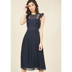 Ruffled in Florence Midi Dress (160 CAD) ❤ liked on Polyvore featuring dresses, flutter-sleeve dresses, navy blue midi dress, navy blue dress, flounce dress and navy crochet dress