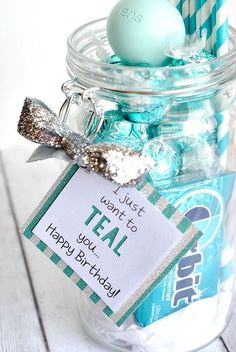 """Teal Birthday gift made with Cricut Explore! By Amber fro """"Crazy Little Projects"""" DIY blog, best friend sister gift idea Thank you gift:"""