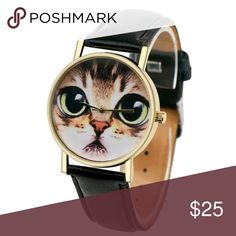 Cute Cat Watch Cute Cat Watch with Black Band. Accessories Watches