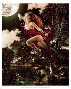 """""""Diana"""" Paintings of Classical Mythology and a brief introduction to Greek & Roman, Mythology featuring contemporary Illustrations by Howard David Johnson Greek And Roman Mythology, Classical Mythology, Greek Gods And Goddesses, Ancient Goddesses, Classical Art, Diana, Moon Goddess, Artemis Goddess, Goddess Art"""