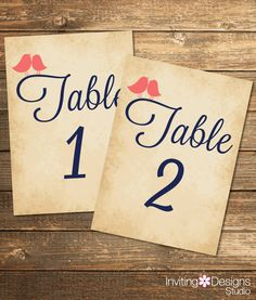Rustic Wedding Table Numbers, Love Bird, Coral and Navy, Vintage, Printable Wedding Suite, Printable Stationery (PRINTABLE FILE) by InvitingDesignStudio on Etsy