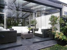 Contemporary Sunroom converts to patio! Outdoor Rooms, Outdoor Living, Outdoor Decor, Patio Design, House Design, Gazebos, Patio Enclosures, Marquise, Outside Living