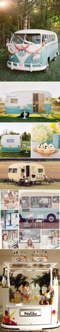¡Nos flipan las caravanas como coche de bodas que queda genial en los posados de la pareja!
