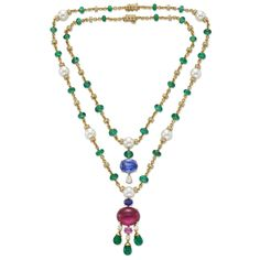 Pair of Diamond and Gem Set Necklaces by Bulgari