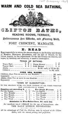 Clifton Baths advertisement 1849, Cliftonville Lido, Margate.