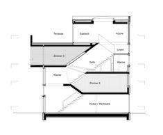 Image 102 of 146 from gallery of Split-Level Homes: 50 Floor Plan Examples. via XTH-berlin Open Baths, Urban Rooms, Stairs And Doors, Berlin, House With Balcony, Architectural Section, Roof Light, Level Homes, Conceptual Design