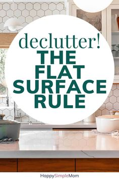 Clean countertops from clutter with the flat surface clutter rule. Declutter your home and see a big difference! Clutter attracts more clutter. Declutter Your Home, Organizing Your Home, Organizing Tips, Decluttering Ideas, Cleaning Hacks, Clutter Organization, Home Organization Hacks, Clutter Control, Clutter Free Home