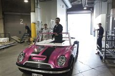Cutest car ever! Britney Spears Femme fatale tour hot pink mini cooper with glitter swirls on the side! I need this!!!