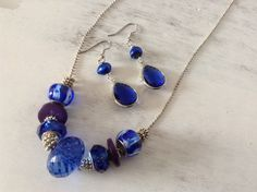 Royal Blue Crystal, Glass and Wood Bead Petite Silver Ball Chain Necklace Set on Etsy, $25.00