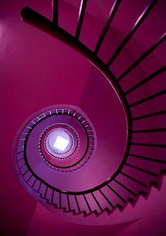 Purple | Porpora | Pourpre | Morado | Lilla | 紫 | Roxo | Colour | Texture | Pattern | Style | Form | Black Staircase against a Purple Background by: Robin de Blanche