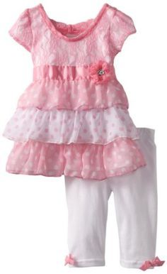 Baby girl clothes#Little Lass Baby-Girls Infant 2 Piece Capri Set with Flower Detail