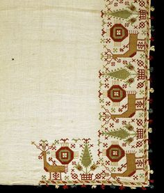Bed valance - Victoria & Albert Museum - Search the Collections Cross Stitch Needles, Cross Stitch Bird, Folk Embroidery, Cross Stitch Embroidery, Textile Fabrics, Textile Art, Bed Valance, Greek Pattern, Greek Design