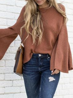 Brown Bell Sleeve Loose Knit Sweater – Jassie Line Chic Outfits, Fall Outfits, Fashion Outfits, Fashion Shoes, Sunday Outfits, Short Outfits, Fashion Pants, Trendy Outfits, Summer Outfits