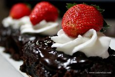 CHOCOLATE WATER CAKE with whipped cream and fresh strawberries.... The most choco-licious and fudgy cake ever. From cakewhiz.com