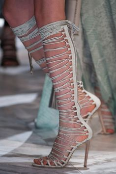 Roberto Cavalli Spring 2014 * Details  -- I think it would be hard to get your foot correctly through all those loops!