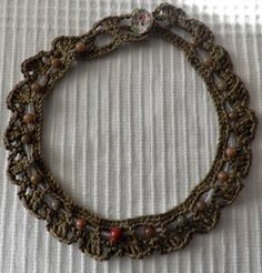 Fine quality cotton crochet collar with matching semi precious beads. https://www.etsy.com/uk/shop/MazeOfLace?ref=si_shop