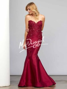 Garnet Red Evening Gown with Floral Appliqué | Mac Duggal 7501C