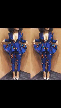 NuVu Jacket with peplum and Pants, african jumpsuit, ankara, african print… African Inspired Fashion, African Print Fashion, Africa Fashion, African Fashion Traditional, African Print Dresses, African Dress, African Fashion Dresses, African Prints, Ankara Fashion