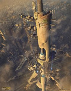 Future city skyscraper, setting inspiration Interface Zero Cyberpunk Action for the Pathfinder RPG by David Jarvis/Gun Metal Games — Kickstarter Cyberpunk City, Cyberpunk Games, Futuristic City, Futuristic Architecture, Metal Games, Pathfinder Rpg, Science Fiction Art, Interstellar, Fantasy Landscape