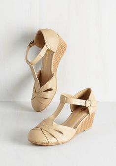 Weave Nothing to Chance Wedge in Cream - Low, Faux Leather, Cream, Tan / Cream, Solid, Cutout, Woven, Daytime Party, Good, Wedge, T-Strap, Variation