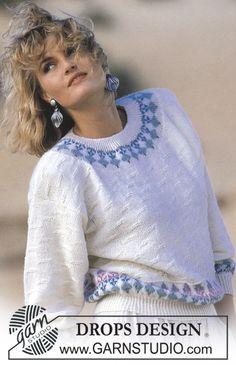 DROPS genser i Camelia med stikkelsbær. Gratis oppskrifter fra DROPS Design.