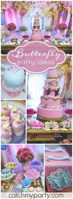 You have to see the birthday cake at this butterfly garden birthday party! See more party ideas at Catchmyparty.com!