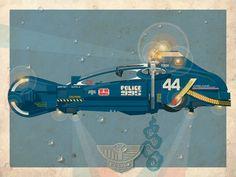 Ilustración del spinner de la policía en Blade Runner