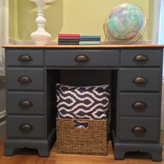 This vintage solid rock maple desk is painted in a custom mixed gra...