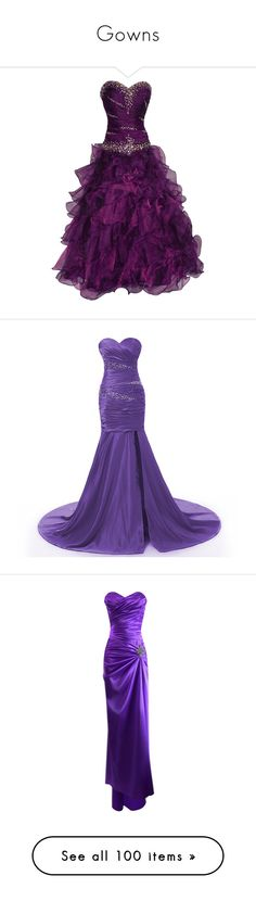 """Gowns"" by annieairwolf ❤ liked on Polyvore featuring dresses, gowns, vestidos, robes, long dresses, purple ball gowns, purple evening dress, prom gowns, beaded gowns and long purple dress"