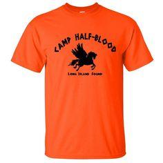Camp Half Bood T-Shirt Long Island Sound Greek Gods Demi Gods Camp... ($5) ❤ liked on Polyvore featuring tops, shirts, fandoms, dark orange, women's clothing, orange top, military shirts, long length shirts, long tops and military fashion