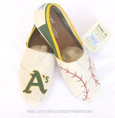 Oakland Athletics A's with Baseball by StacyRheaShoes on Etsy