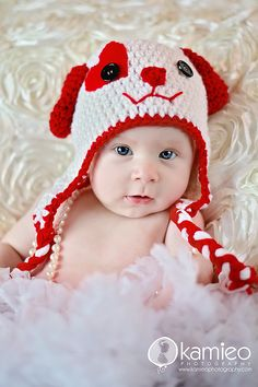 adorable crochet puppy baby hat via Justbehappy on Etsy