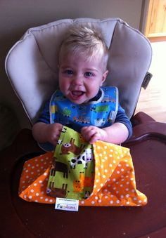 """See how this cutie patootie gobbled up his Funkin in this story by mom and Urban Infant Edmonton Magazine editor: """"I like how they are bigger than the baby face cloths I was using too. You can just clean up so much more and I need it with my son (10 months) being the messy eater he is. He HATES having his face wiped off but gets totally distracted by the fun prints, making it easier.""""    Funkins are bright, reusable cloth napkins made especially for kids. www.myfunkins.com/ Magazine Editor, Cloth Napkins, Fun Prints, Clean Up, Cloths, Infant, Lunch Box, Bright, Urban"""