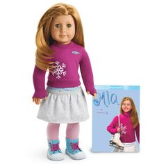 American Girl Mia and Book ! by American Girl. American Girl 2008 Mia Doll + Paperback Book no longer available in stores All American Girl Dolls, American Girl Books, Baby Doll Bed, Baby Dolls, Blue High Tops, Pink Tights, New Dolls, Girl Doll Clothes, Girl Outfits
