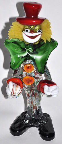 """Do you collect clowns?  Vintage Italian Murano Blown Glass Clown by La Serenissima - 10 1/2"""" Tall x 5"""" wide x 3"""" deep - Awesome Coloring, deep and rich - Missing sticker, estate owner confirms all pieces were purchased in one place over two different cruises during the late 70's. $115"""