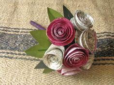 Bookworm Eats Flower: alternative bouquet-- dyed book pages!