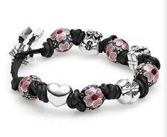 Pink flower charm styled on leather string #PANDORAbracelet