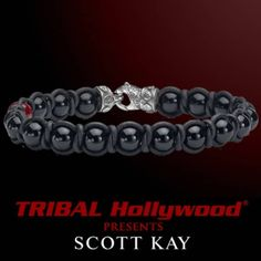 BRAID AND BEAD Onyx and Red Shell Pearl Braided Black Leather Mens Bracelet - TRIBAL Hollywood