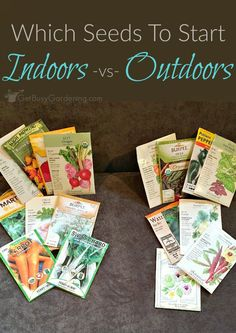 Indoor Vegetable Gardening Some seeds will grow better when sown outside; others are easier to grow indoors. Here's a list of seeds to start indoors -vs- in the garden. Indoor Vegetable Gardening, Home Vegetable Garden, Hydroponic Gardening, Garden Soil, Garden Seeds, Planting Seeds, Container Gardening, Gardening Tips, Organic Gardening