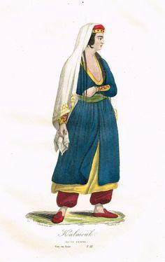 Kalmouk - Jeune Femme - Voyage en Asie Tome III - Histoire pittoresque des voyages  par L.-E. Hatin - 1844 - MAS Estampes Anciennes - Antique Prints