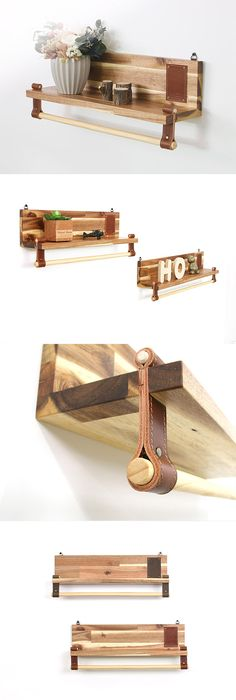 Wall shelf, Shelf-Pole, Wood Shelf, Wood&Leather Shelf, Wall Art, Hanging…