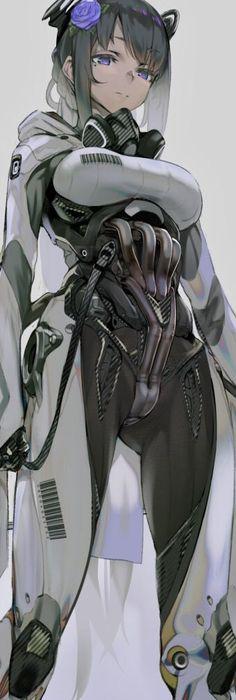 In the distant bleak future of the 24 millennium, breast have bar codes. In the distant bleak future of the 24 millennium, breast have bar codes. Arte Cyberpunk, Cyberpunk Girl, Female Character Design, Character Design Inspiration, Character Concept, Character Art, Art Anime, Anime Art Girl, Manga Art