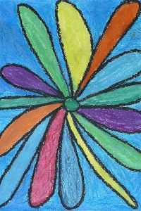 Georgia O'Keeffe Flowers: oil pastels and watercolors