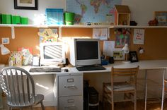 Long narrow desk with file cabinet for support.maybe a combination desk and art area then? Kids Office, Family Office, Office Ideas, Desk Ideas, Office Decor, Family Room, Desk Storage, Kids Storage, Kids Art Easel