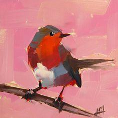 Robin no. 73 original bird oil painting by Angela Moulton 6 x 6 inches on panel  prattcreekart