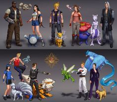 Final Fantasy 7 & 8 characters as Pokemon trainers