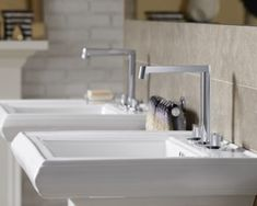 Kohler's New Components Collection Offers Mixing and Matching Elements for Personalization - Design Milk Small Bathroom Sinks, Bathroom Sink Faucets, Kohler Memoirs, Fire Clay, Childrens Bathroom, Pedestal Sink, Faucet Handles, Contemporary Bathrooms, Polished Chrome