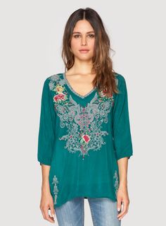 Johnny Was Clothing embroidered rayon georgette MENDI BLOUSE in Blue Emerald Turquoise
